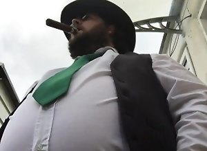 kink;fat;belly;bear;cowboy;hat;cigar,Solo Male;Gay low angle fancy...