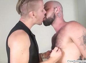 barebackcumpigs;gaysex;bear;wolf;bald;foreplay;tattooed;doggystyle;closeup;fetish;tattoo;missionary;hairy;piercing;cuminmouth,Bareback;Gay;Bear;Cumshot Inked bear gets...