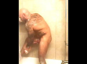 big-cock;bwc;shower;showering;jason-collins;masculine-jason;masculinejason;hard-on;big-dick;huge-cock;alpha;dom;daddy;muscle;tattoo;bear,Daddy;Muscle;Solo Male;Big Dick;Gay;Hunks;Uncut;Jock;Tattooed Men Showering with a...