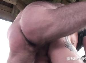 musclebearporn;big;cock;public;outside;bareback;nature,Bareback;Gay Raw breeding at...