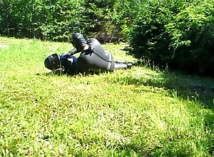wetsuit;neoprene;mask;gloves;wetsuit;booties;outside;lawn;dummy;hump;cock;jerk;off;struggle,Fetish;Solo Male;Gay;Verified Amateurs frogman humps an...