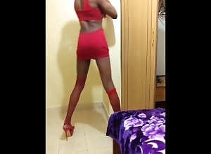 red;dress;sexy;outfit,Solo Male;Gay;Amateur Side View Of My...