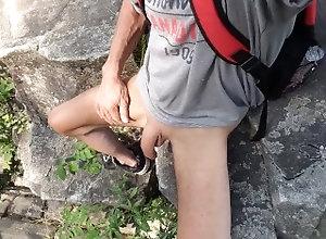 big;cock;big;dick;uncut;dick;Uncut;Cock;foreskin;edgin;wank;jerk;off;masturbating;outside;forest;underwear;outdoor;masturbation,Solo Male;Big Dick;Gay Wank on a rock #2