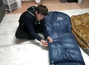 cum;cumshot;masturbate;sleepingbag;sleeping;bag;camping;winter;doudoune;sac;de;couchage;saco;de;dormir;mountain;florest;iceblack;downjacket;nylon;downgear,Solo Male;Gay Sleeping bag Test