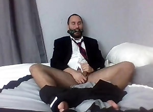 tease;stripping;businessman;cleave-gagged;cuffed;leg-cuffs;nice-butt;scruffy-guy;jerking-off;moaning;bondage;barefoot;edging;formal-wear;nice-legs;latin,Latino;Solo Male;Gay;Hunks;Straight Guys;Cumshot;Feet;Verified Amateurs Gagged and...