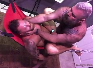 musclebearporn;riley-mitchel;bareback;will-angell;sling,Bareback;Fetish;Blowjob;Gay;Bear;Rough Sex Swallow It