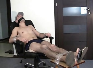 bondage;tied;feet;bound;gagged,Gay;Feet Guy tied to chair