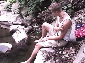 outdoors;outside;solo;woods;teasing;tan;lines;strip;jerking;stroking;masturbate;wank;teenager;skinny,Twink;Solo Male;Gay;Public;Amateur outdoor boyz -...